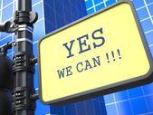 Yes We Can - Motivational Slogan on Waymark. — Stock Photo
