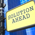 Постер, плакат: Solution Ahead Road Sign Motivation Slogan