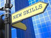 Nowe umiejętności - znak drogowy. motywacja hasłem. — Zdjęcie stockowe