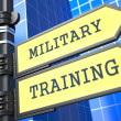 Stock Photo: Education Concept. Military Training Roadsign.