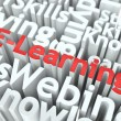 E-Learning. The Wordcloud Education Concept. - Stock Photo