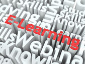 E-Learning. The Wordcloud Education Concept. — Stock Photo