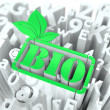 Royalty-Free Stock Photo: Green Bio Sign on Alphabet Background.