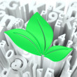Stock Photo: Green Leaves Sign on Alphabet Background.