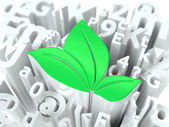Green Leaves Sign on Alphabet Background. — Stock Photo