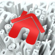Royalty-Free Stock Photo: Red Home Sign on Alphabet Background.