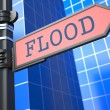 Disaster Concept. Flooding Ahead Roadsign. — Stock Photo