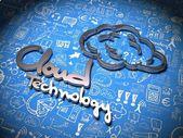 Sfondo di nuvola con caratteri scritti a mano. — Foto Stock
