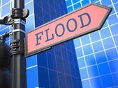 Conceito de desastre. inundações roadsign à frente. — Foto Stock