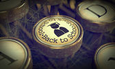 Back to Scool Typewriter Key. Grunge Background. — Foto Stock