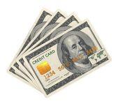 Cartão de crédito projetada na nota de dólar. — Foto Stock