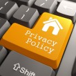 Keyboard with Privacy Policy Button. — Stock Photo