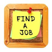 Find a Job. Yellow Sticker on Bulletin. — Foto de Stock