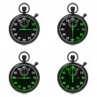 Stopwatch - Green Timers. Set on White. — Stock Photo