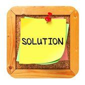 Solution. Yellow Sticker on Bulletin. — Stock Photo