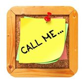 Call Me. Yellow Sticker on Bulletin. — Stock Photo