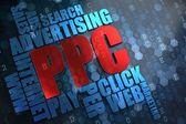 PPC. Wordcloud Concept. — Stock Photo