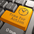 Keyboard with Time For Action Button. — Stock Photo