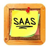 SAAS. Yellow Sticker on Bulletin. — Stock Photo