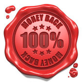 Money Back - Stamp on Red Wax Seal. — Stock Photo