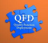 QFD on Blue Puzzle Pieces. Business Concept. — Stock Photo