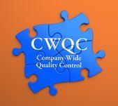 Cwqc på blå pusselbitar. affärsidé. — Stockfoto