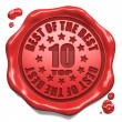 Stock Photo: Top 10 in Charts - Stamp on Red Wax Seal.