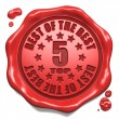 Stock Photo: Top 5 in Charts - Stamp on Red Wax Seal.