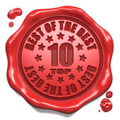 Top 10 in Charts - Stamp on Red Wax Seal. — Stock Photo