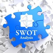 SWOT Analisis on Blue Puzzle Pieces. — Stock Photo