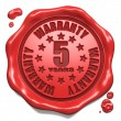 Warranty 5 Year - Stamp on Red Wax Seal. — Stock Photo