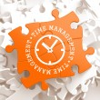 Time Management Concept on Orange Puzzle Pieces. — Stock Photo