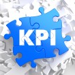KPI on Blue Puzzle Pieces. Business Concept. — Stock Photo