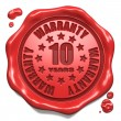 Stock Photo: Warranty 10 Year - Stamp on Red Wax Seal.