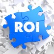ROI on Blue Puzzle Pieces. Business Concept. — Stock Photo