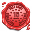 Stock Photo: Free Trial 15 Days- Stamp on Red Wax Seal.