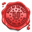 Stock Photo: Top 50 in Charts - Stamp on Red Wax Seal.