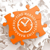 Time Management Concept on Orange Puzzle Pieces. — Foto de Stock