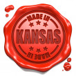 Stock Photo: Made in Kansas - Stamp on Red Wax Seal.