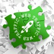 Web Traffic Concept on Green Puzzle Pieces. — Stock Photo