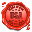 Stock Photo: Made in US- Stamp on Red Wax Seal.