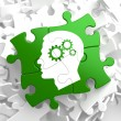 Psychological Concept on Green Puzzle Pieces. — Stock Photo