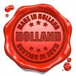 Stock Photo: Made in Holland - Stamp on Red Wax Seal.