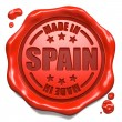 Stock Photo: Made in Spain - Stamp on Red Wax Seal.