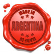 Stock Photo: Made in Argentin- Stamp on Red Wax Seal.