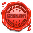 Made in Germany - Stamp on Red Wax Seal. — Stock Photo