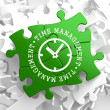 Time Management Concept on Green Puzzle Pieces. — 图库照片