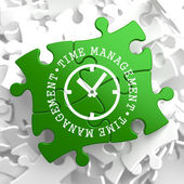 Time Management Concept on Green Puzzle Pieces. — Stock Photo