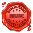 Stock Photo: Made in France - Stamp on Red Wax Seal.