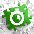Stopwatch Icon on Green Puzzle. — Stock Photo